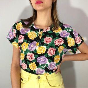 80's floral top